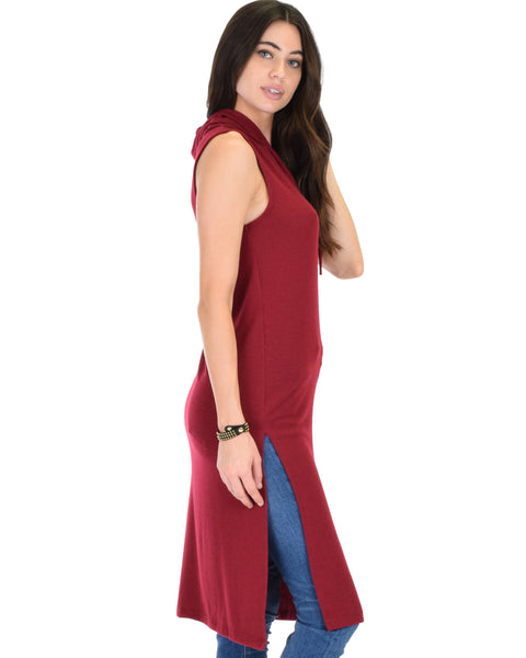 Made My Day Drawstring Burgundy Hoodie Tunic Top