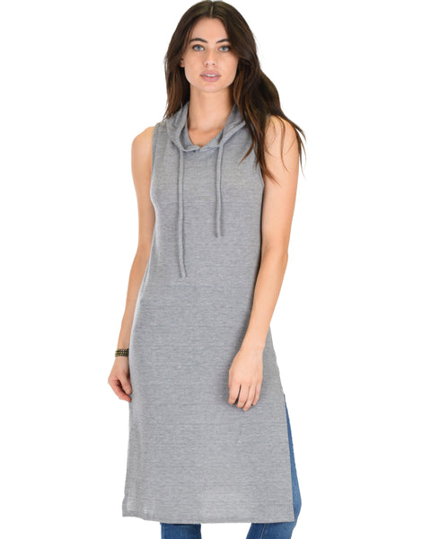 Made My Day Drawstring Grey Hoodie Tunic Top