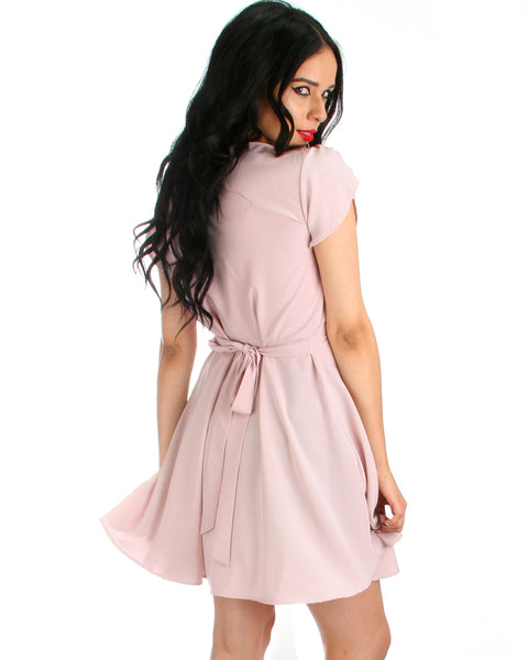 Wrap Me Up Waist Tie Pink Wrap Dress