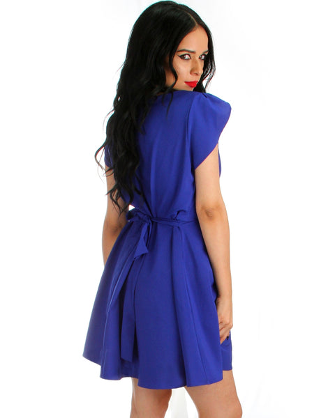 Wrap Me Up Waist Tie Royal Wrap Dress