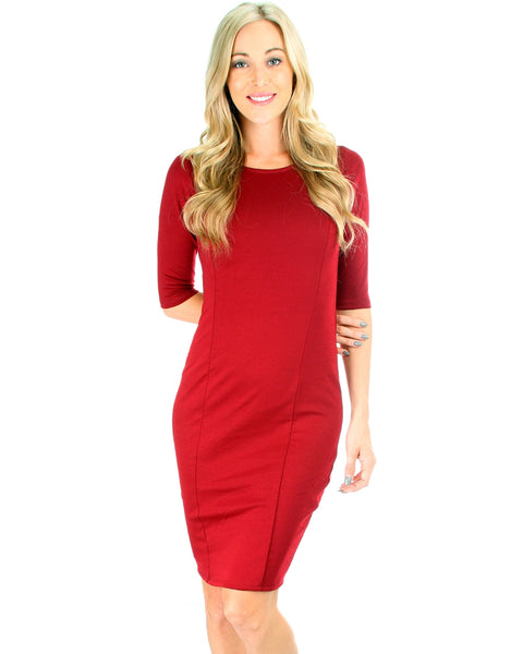 Back Diamond Cut-Out Burgundy Bodycon Midi Dress