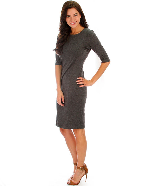 Back Diamond Cut-Out Charcoal Bodycon Midi Dress