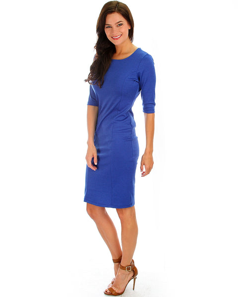 Back Diamond Cut-Out Royal Bodycon Midi Dress