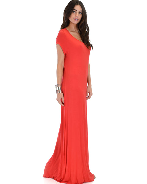 Side Slit Coral Maxi Dress