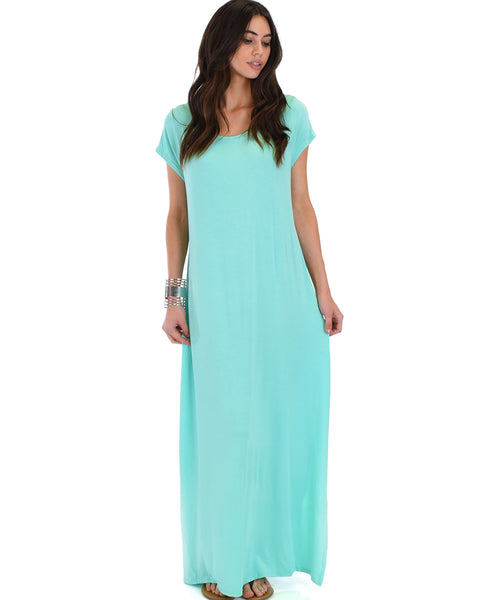 Side Slit Aqua Maxi Dress