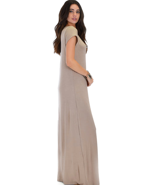 Side Slit Taupe Maxi Dress