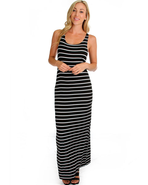 Racerback Striped Black Maxi Dress