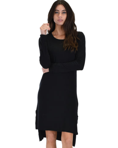 Kiss The Moon Long Sleeve Black Midi Dress
