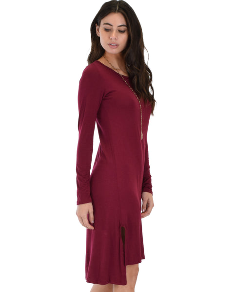 Kiss The Moon Long Sleeve Burgundy Midi Dress