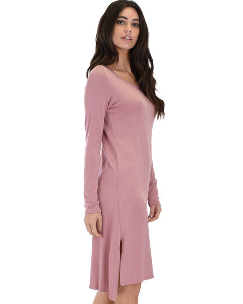 Kiss The Moon Long Sleeve Mauve Midi Dress