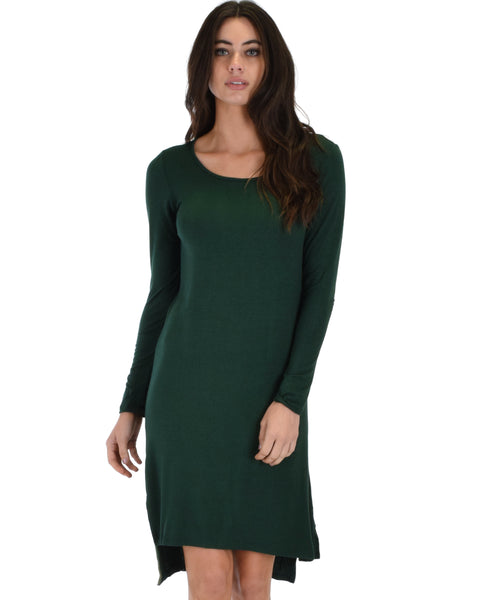 Kiss The Moon Long Sleeve Olive Midi Dress