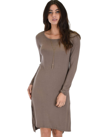 Kiss The Moon Long Sleeve Taupe Midi Dress