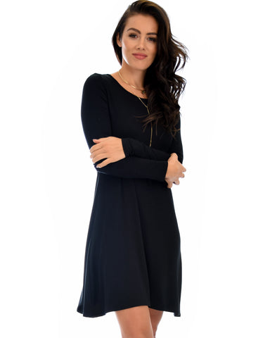 Shift & Shout Long Sleeve Black Tunic Dress