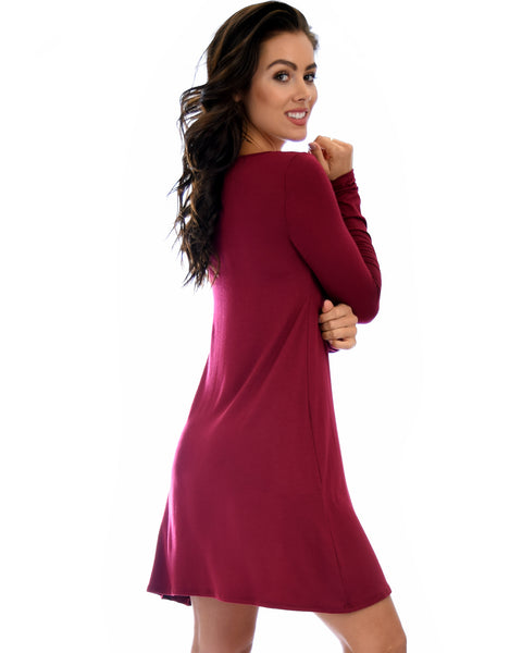 Shift & Shout Long Sleeve Burgundy Tunic Dress