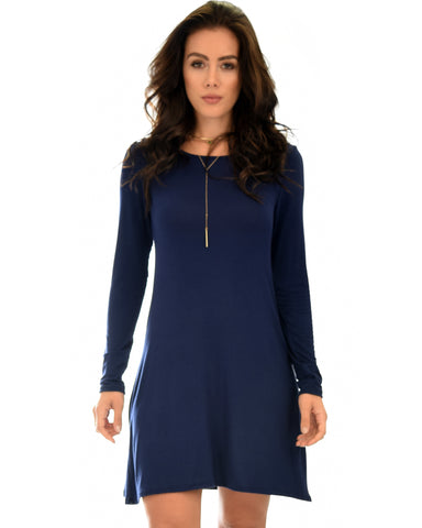 Shift & Shout Long Sleeve Navy Tunic Dress