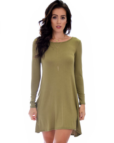 Shift & Shout Long Sleeve Olive Tunic Dress