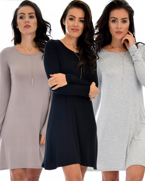 3 Pack Shift & Shout Long Sleeve Tunic Dress