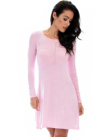 Shift & Shout Long Sleeve Mauve Tunic Dress