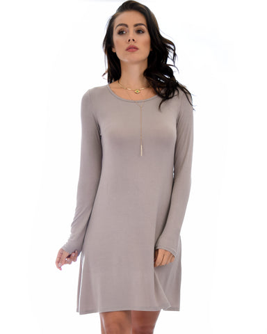 Shift & Shout Long Sleeve Taupe Tunic Dress