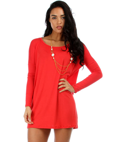 Better Together Over-Sized Long Sleeve Red Tunic Top
