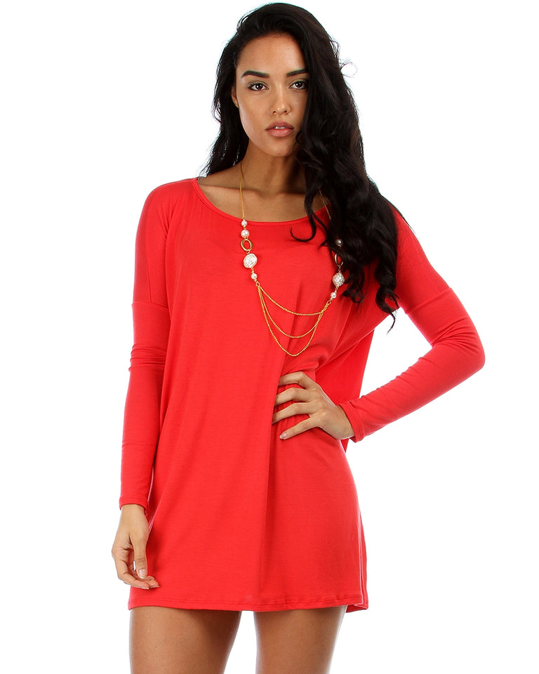 93be145fecc Lyss Loo Better Together Over-Sized Long Sleeve Red Tunic Top