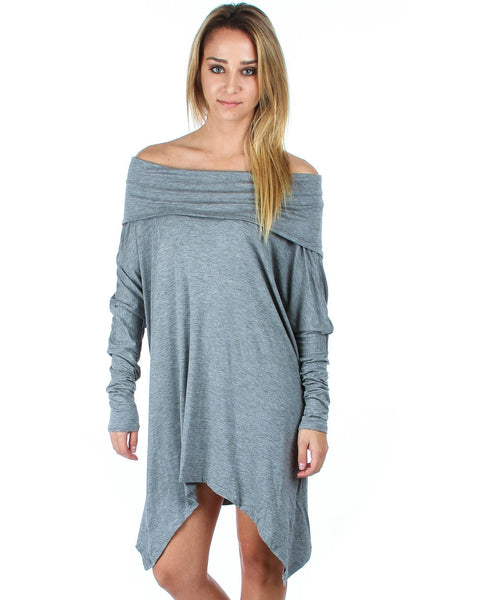 Off The Shoulder Draped Grey Tunic Dress