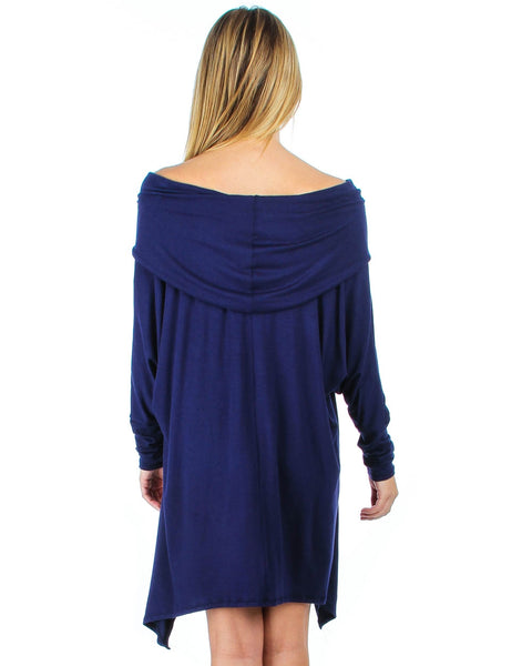 Off The Shoulder Draped Navy Tunic Dress