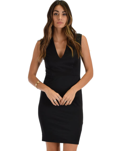 Cocktail Hour V-Neck Black Bodycon Dress