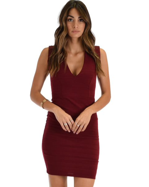 Cocktail Hour V-Neck Burgundy Bodycon Dress