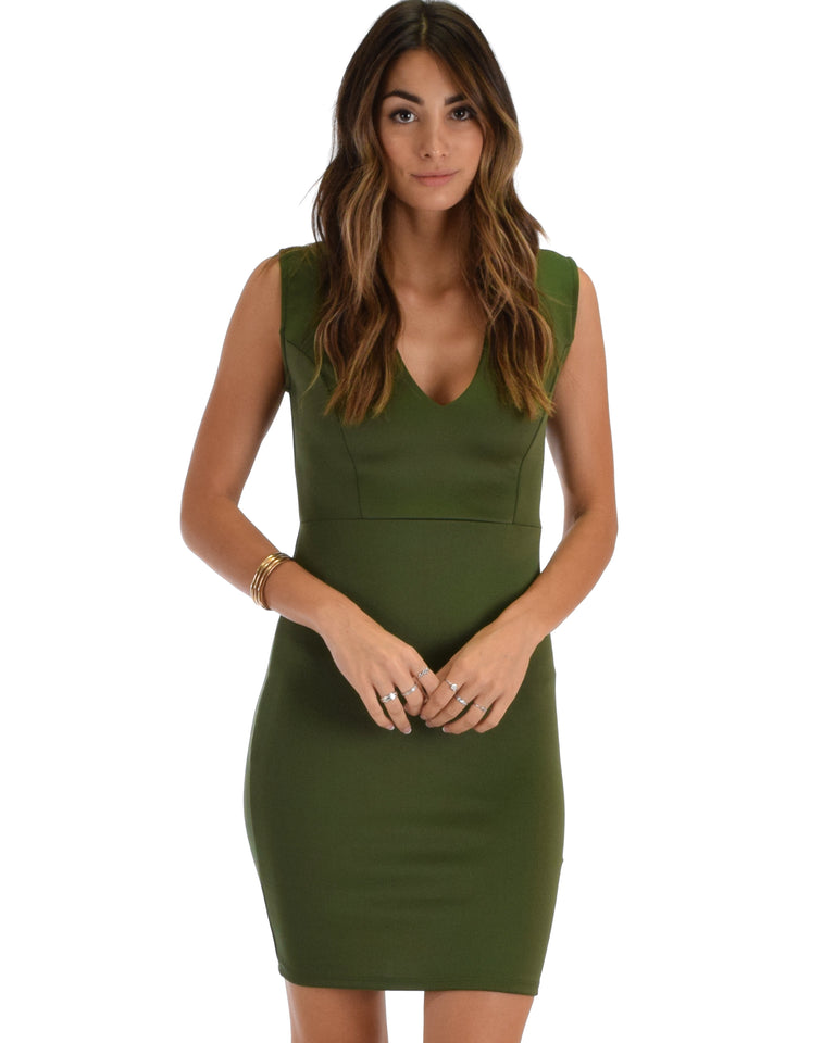 f4adcc87a43 Lyss Loo Cocktail Hour V-Neck Olive Bodycon Dress
