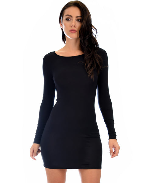 Comeback Baby Long Sleeve Black Bodycon Dress
