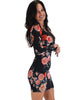 Lyss Loo Women's Love Steal A Kiss Long Sleeve Black Floral Bodycon Dress - Lyss Loo