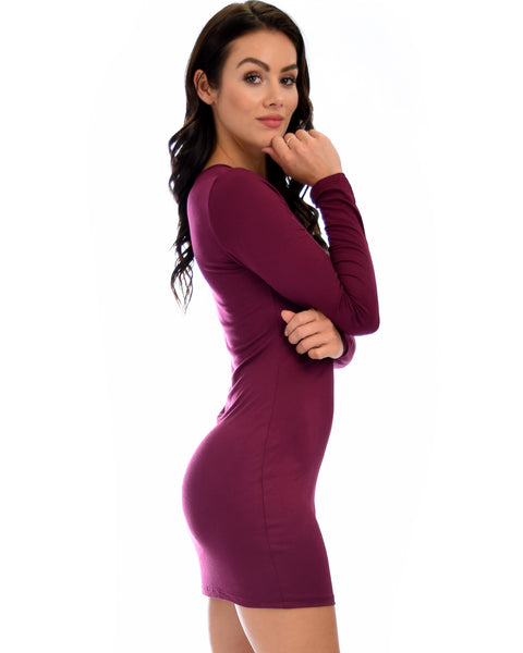Comeback Baby Long Sleeve Burgundy Bodycon Dress