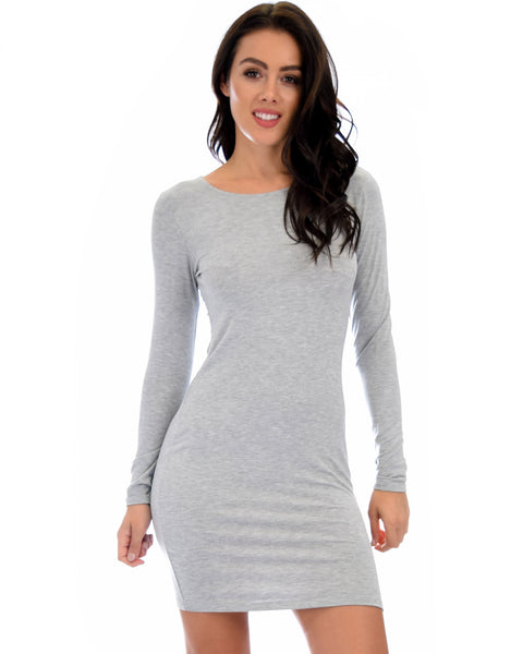 Comeback Baby Long Sleeve Grey Bodycon Dress