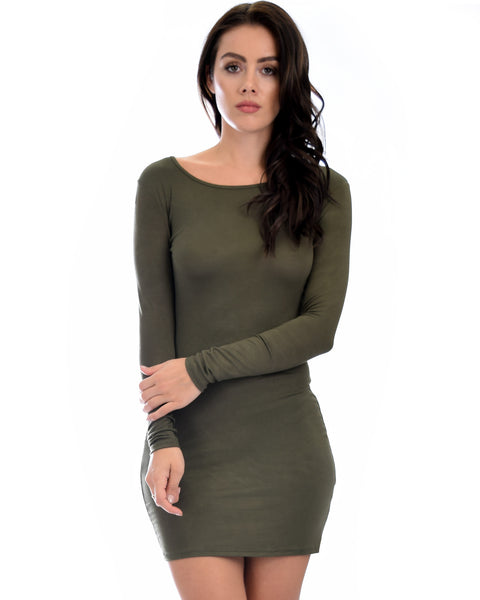 Comeback Baby Long Sleeve Olive Bodycon Dress
