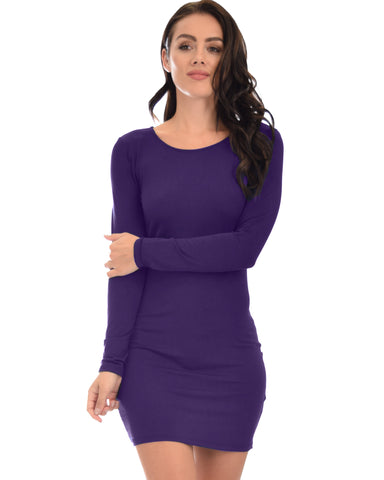 Comeback Baby Long Sleeve Purple Bodycon Dress