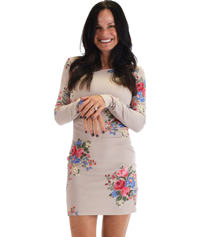 Lyss Loo Women's Love Steal A Kiss Long Sleeve Taupe Floral Bodycon Dress