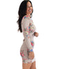Lyss Loo Women's Love Steal A Kiss Long Sleeve Taupe Floral Bodycon Dress - Lyss Loo