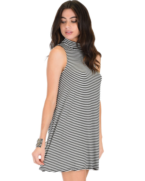 Olivia Tank Striped Black Shift Dress