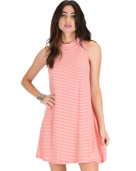 Olivia Tank Striped Coral Shift Dress