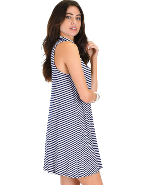 Olivia Tank Striped Navy Shift Dress