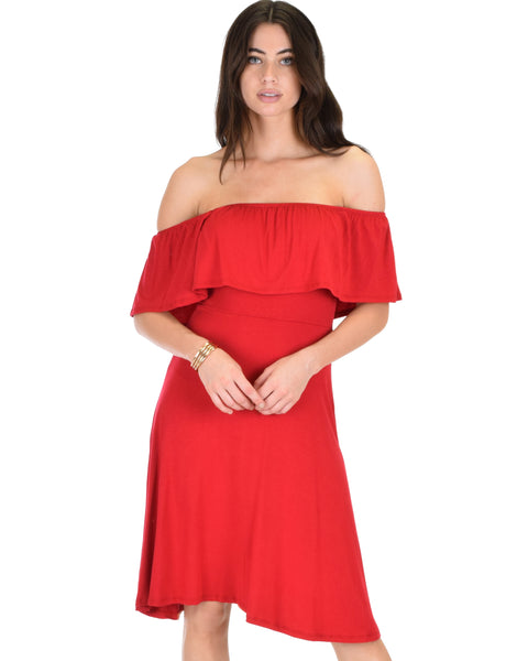 Wait And See Off The Shoulder Burgundy Midi Dress