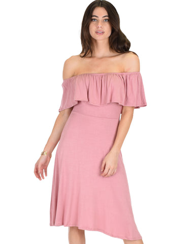 Wait And See Off The Shoulder Mauve Midi Dress