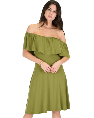 Wait And See Off The Shoulder Olive Midi Dress