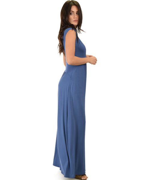 Sweetest Kiss Sleeveless Blue Maxi Dress