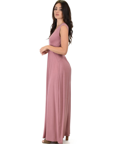 Sweetest Kiss Sleeveless Mauve Maxi Dress