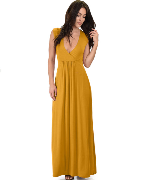 Sweetest Kiss Sleeveless Mustard Maxi Dress