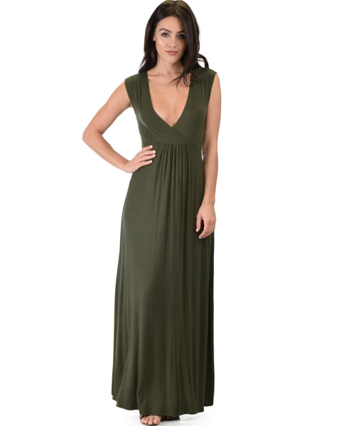 Sweetest Kiss Sleeveless Olive Maxi Dress