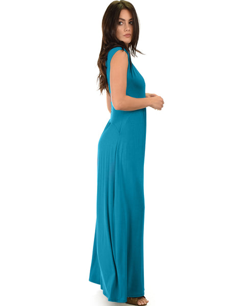 Sweetest Kiss Sleeveless Teal Maxi Dress