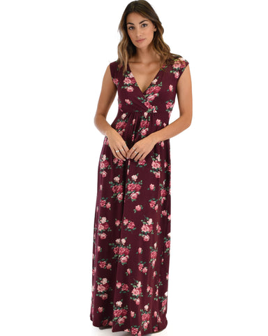 Sweetest Kiss Sleeveless Burgundy Floral Maxi Dress